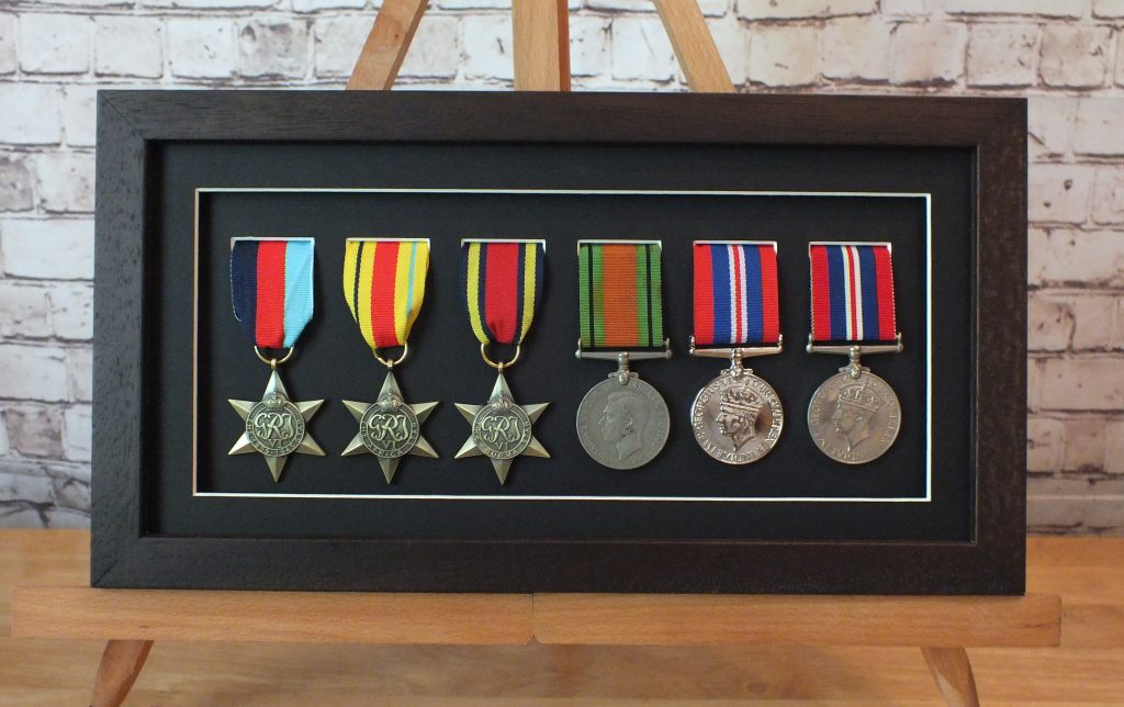 Six Medal Display Frame With Single Mount Roundstone Framing