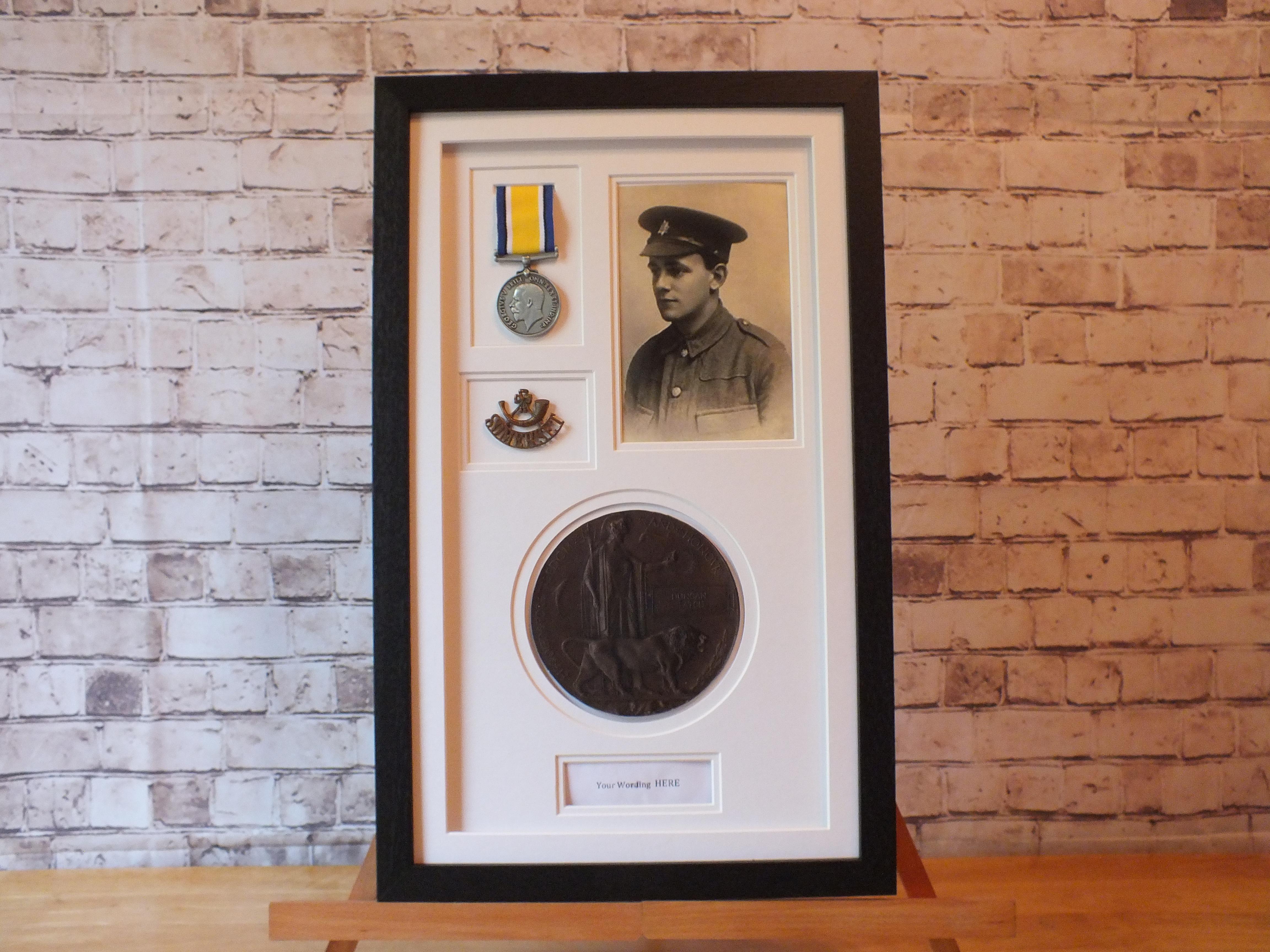 Death Penny Medal Frame - 1x Ribbon Medal - Cap Badge & Title box