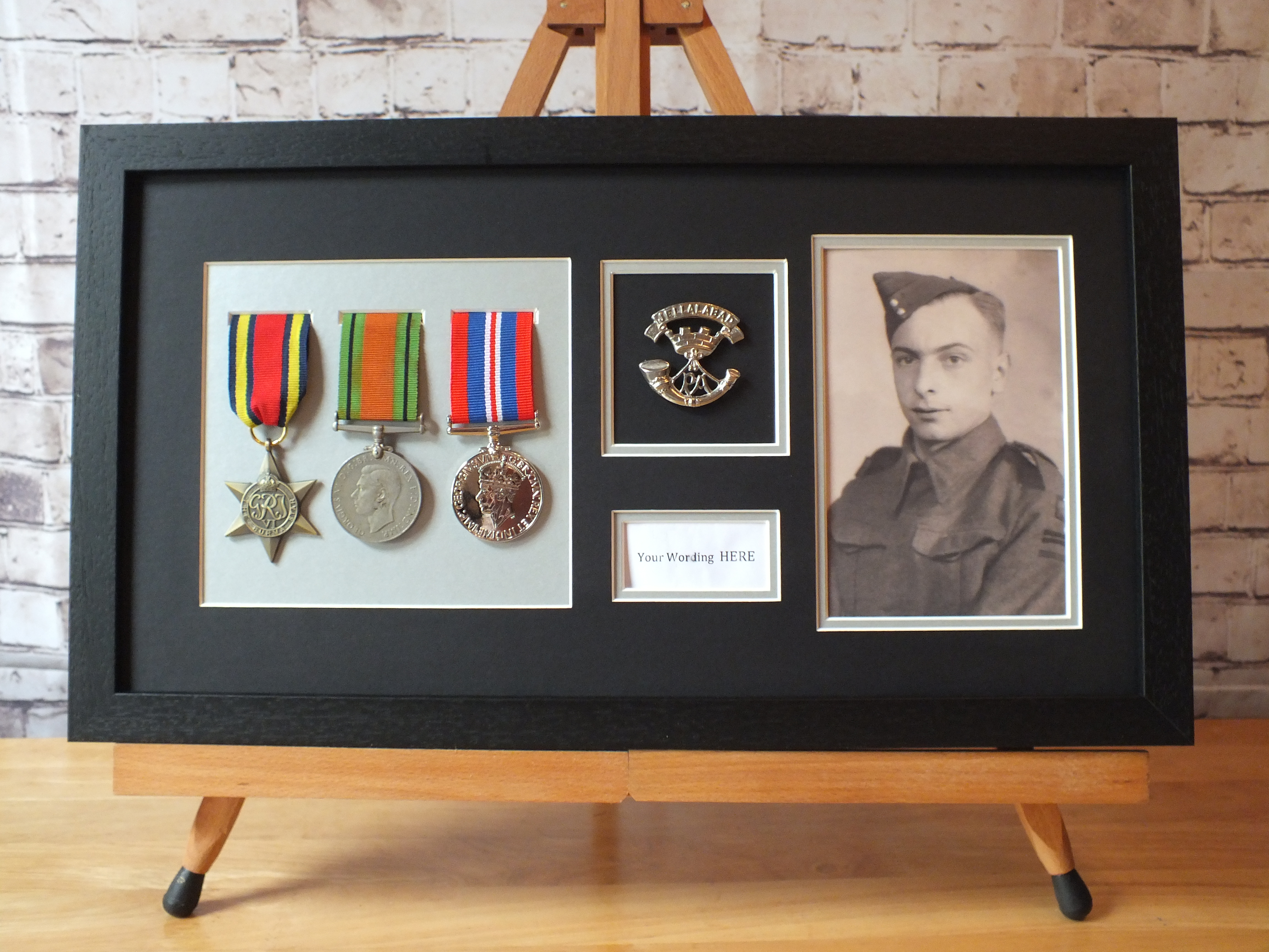 Title Box Cap Badge Medal Frame Choice of 1 or 2 Medal Display REAL WOOD