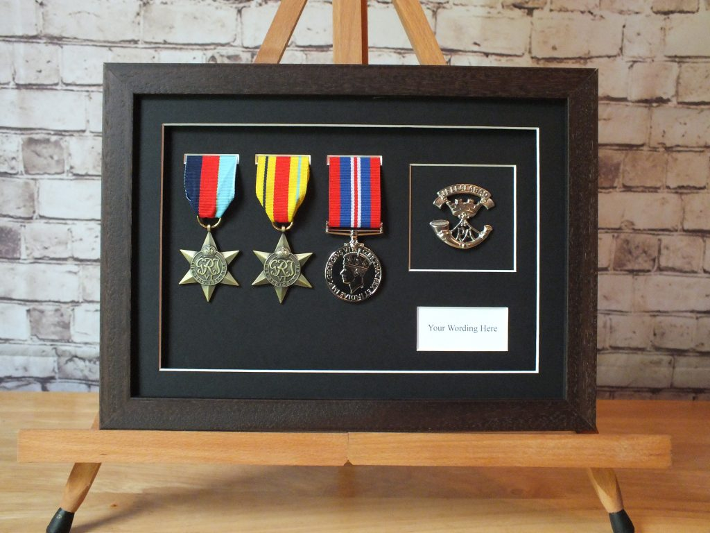 Three Medal Display Frame With Cap Badge And Title Box